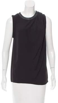 Dion Lee Sleeveless Leather-Trimmed Blouse