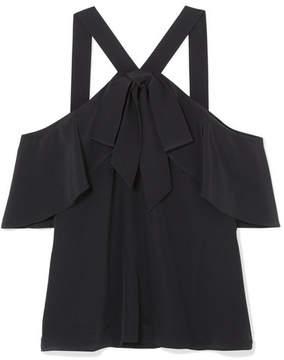 Temperley London Plage Cold-shoulder Silk Crepe De Chine Top - Black