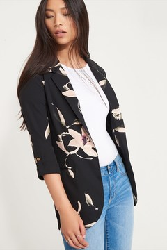 Dynamite Floral Blazer with Cropped Sleeves