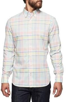 MANGO Cotton Plaid Button-Down Shirt
