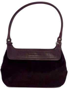 Adrienne Vittadini Deep Plum Fur & Leather Purse