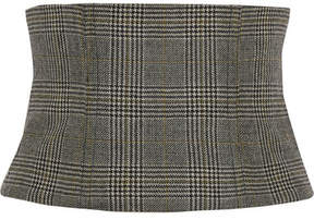 Tibi Chester Checked Wool Corset - Gray