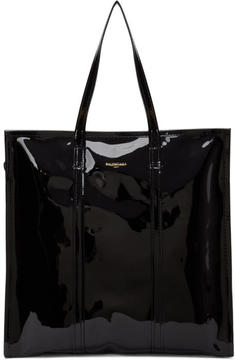Balenciaga Black Patent Medium Bazaar Shopper Tote