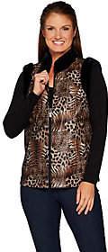 Bob Mackie Bob Mackie's Leopard Print Vest with Faux FurTrim