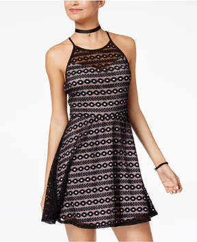 As U Wish Juniors' Illusion Lace Fit & Flare Dress