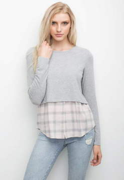 Generation Love Mischa Double Layer Top With Plaid Shirt Hem
