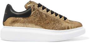 Alexander McQueen Metallic Textured-leather Sneakers - Gold