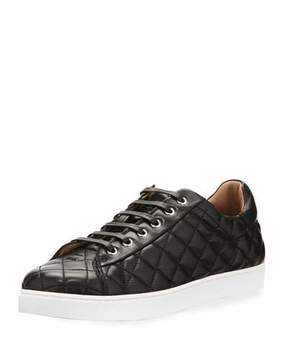 Gianvito Rossi Men's Quilted Leather Low-Top Sneaker, Black (Nero)