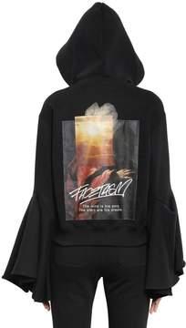 Facetasm Hooded Flared Sleeve Cotton Sweatshirt