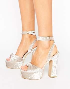 Public Desire Elaura Cream Velvet Platform Heeled Sandals