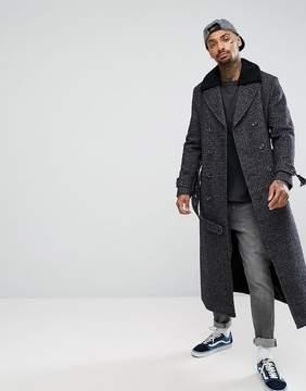 Asos Wool Mix Long Lined Trench Coat In Check