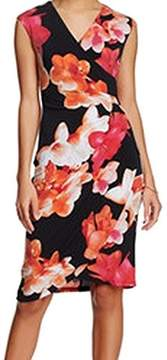 Calvin Klein Women's Cap Sleeve V-neck Floral Sheath Dress (14, Multi)