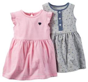 Carter's Baby Clothing Outfit Girls 2-Pack Dress Set Floral/Stripe