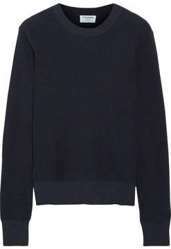 Frame Waffle-knit Cotton And Cashmere-blend Sweater - Navy