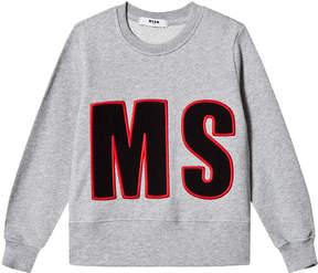 MSGM Grey Applique Sweatshirt
