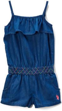 U.S. Polo Assn. Blue Wash Smocking Waist Romper - Infant, Toddler & Girls