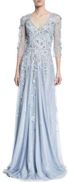 Theia Floral Tulle Appliqué V-Neck Gown