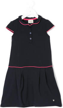 Armani Junior pleated contrast-piped dress