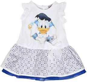 MonnaLisa Cotton Jersey & Eyelet Lace Dress