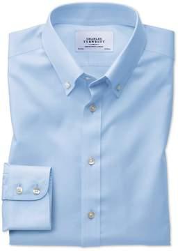 Charles Tyrwhitt Extra Slim Fit Button-Down Non-Iron Twill Sky Blue Cotton Dress Shirt Single Cuff Size 14.5/32
