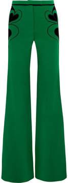 Elie Saab Velvet-appliquéd Crepe Flared Pants - Forest green