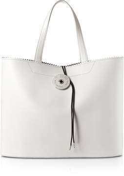 Maison Margiela White Calf Leather and Paper Tote Bag