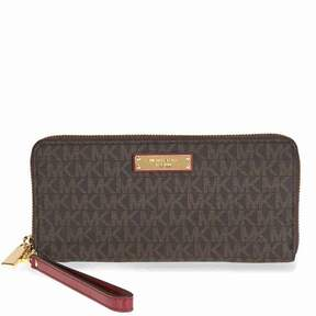 Michael Kors Jet Set Travel Logo Continental Wristlet- Brown and Purple - ONE COLOR - STYLE