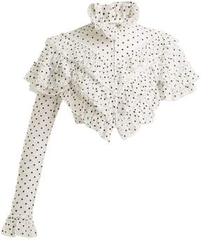 Rodarte Flocked polka-dot ruffle blouse
