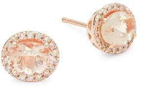 Effy Women's 14K Rose Gold Diamonds & Morganite Round Stud Earrings