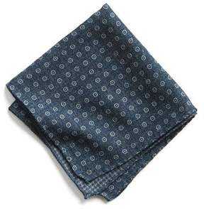 Todd Snyder Italian Wool Pocket Square in Navy Circle