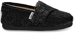Toms Kids' Black Crochet Slip-On