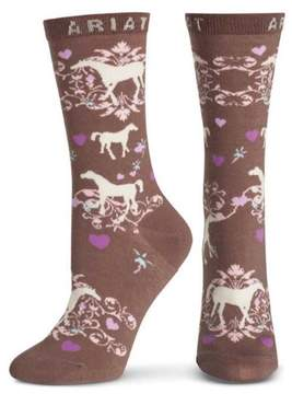 Ariat A10008586 Womens Horse Love Ankle Sock, Taupe - One size