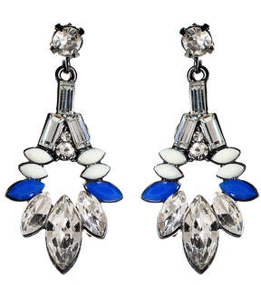 Amrita Singh Austrian Crystal & Blue Goa Evening Drop Earrings