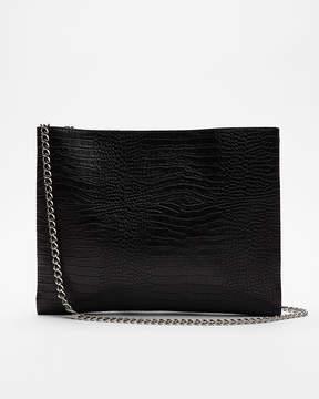 Express Flat Crocodile Pattern Shoulder Bag