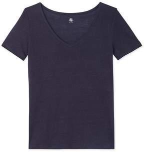 Petit Bateau Women's linen V-neck T-shirt
