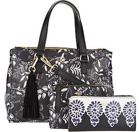 DENA Double Top Zip Satchel Handbag w/ Pouch and Bi-Fold Wallet