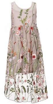 Bonnie Jean Little Girls 4-6X Embroidered Mesh A-Line Dress