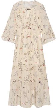 Rachel Zoe Belmont Ruffled Floral-print Silk-chiffon Maxi Dress - Cream