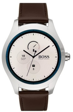BOSS Men's Touch Leather Strap Smart Watch Set