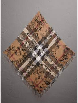 Burberry Doodle Print and Check Silk Cotton Scarf