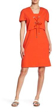 Cacharel Square Neck Lace-Up Dress