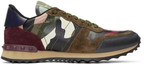 Valentino Green Garavani Camo Rock Runner Sneakers
