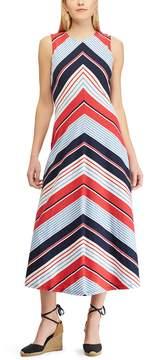 Chaps Petite Striped Sleeveless Maxi Dress