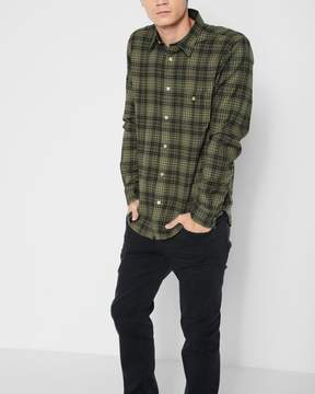 7 For All Mankind Long Sleeve Plaid Shirt in Fatigue