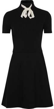 Valentino Ribbed Stretch-knit And Stretch-cady Mini Dress - Black