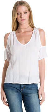 Bella Dahl Cold Shoulder V-Neck-White-XS