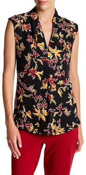Chaus Cap Sleeve Mixed Media Floral Blouse