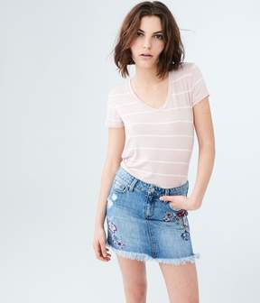 Aeropostale Embroidered Light Wash Denim Mini Skirt