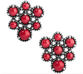 American West Sterling Coral Cluster Earrings