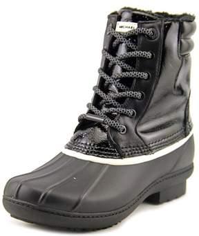 Michael Kors MICHAEL Easton Bootie Short Logo Rainboots, Black/White